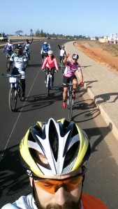 Riding with the coaches in Mozambique :-)